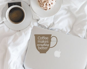 Coffee Decal, laptop sticker, coffee quote, coffee cup wall decal, coffee wall decal, coffee lovers decal, coffee cup mug stickers, coffee