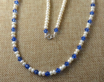 Fresh Water Pearl Necklace, Blue Sapphire Swarovski Crystals Sterling Silver Clasp Necklace.