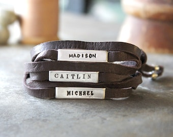 Mother's Leather Wrap Bracelet with Stamped Names.  Personalized in Sterling Silver. Design your own mother's bracelet!