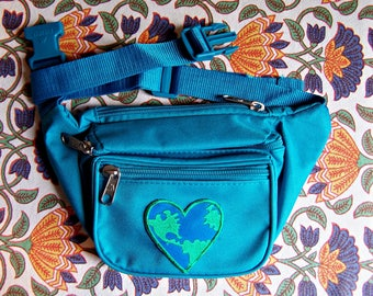 Vegan Fanny Pack, Turquoise, Blue Fanny pack, Eco, Environmental, Hands free bag