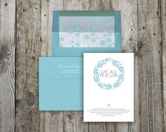 Winter Snowflake Custom Wedding Invitation Set