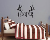 Personalized Antlers Name Decal, Monogram wall decal, Children's bedroom, camp nursery decor, custom name decal