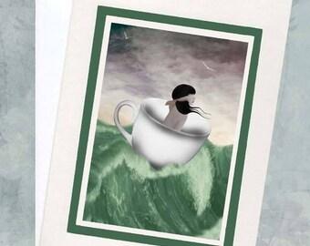 Blank Greeting Card & Envelope - Girl At Sea In Teacup - Storm In A Teacup