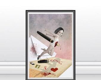 A3 Art print - Big Eyed Girl - Big Eyes Art - Big Eye Art - Wall Decor - Written In Blood