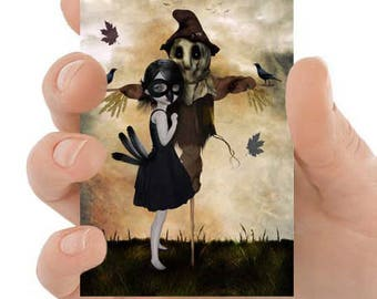 Unrequited Love - Aceo Art Print - Weird Romance - ACEO Card - Mini Art - Girl & Scarecrow