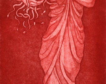Original etching, red monochrome: 'Medusa's Comb'. Classical female figure inspired by the greek goddess, or mythical snake-haired monster.