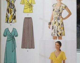 Women's Plus Size Wrap Dress Simplicity 2369 Sewing Pattern, Wide Leg Pants, V Neck Wrap Top, Fashion Wardrobe Plus Size  16 - 24 UNCUT