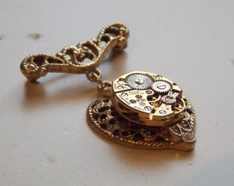 Steampunk Pin Victorian Heart Brooch Valentine's Day Gift Watch Movement Gold Jewelry