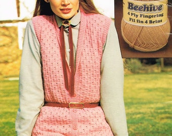 Downloadable Vintage knitting Pattern - Womans Sleeveless Cardigan from 1980 - PDF Pattern - retro 80's Sweater