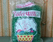 Vintage Green Cellophane Easter Grass in Opened Bag 2 oz