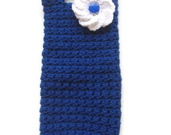 Ready To Ship - Crochet Royal Blue Wine Tote - Crochet Wine Carrier - Blue Crocheted Wine Tote - Teal Crocheted Wine Bottle Carrier