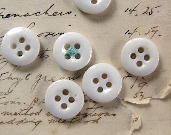 antique milk glass buttons - 6 porcelain paste 4 hole sew through