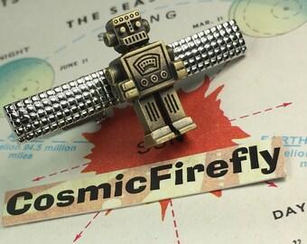 Robot Tie Bar Steampunk Tie Clip Men's Tie Clip Geekery Tie Clip Miniature Toy Robot Mixed Metals