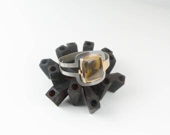 vtg 1960s silver + gold mod bracelet watch 17 jewel mid century modern La Marque