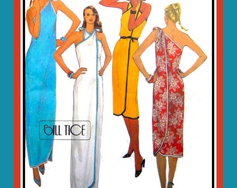 Vintage 1980- WRAP COLUMN DRESS-Designer Sewing Pattern-Four Styles-Halter Neckline-Evening -Resort-Beach-Bias Binding-Uncut-Size 10-12-Rare