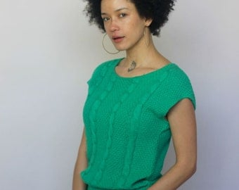 verdant -- vintage 80s kelly green knit top S