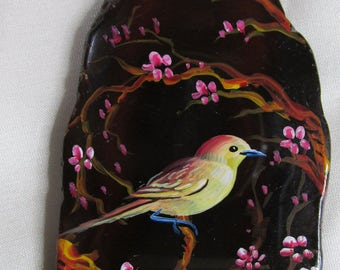 Hand Painted Spring Time Yellow Bird Cherry Blossoms Floral Agate Focal Pendant Bead for Necklace