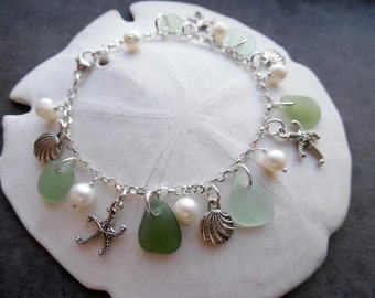 Aqua Sea Glass Bracelet Beach Glass Jewelry Charm Bracelet Silver Beach Glass Bracelet Starfish Sea Shell Pearl Charms