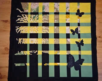 Harmony Quilt Top , To be Quilted, Butterflies, Green, Yellow, Black, Handmade, Wall Hanging, Decor, Fabric Art
