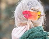 Leather Phoenix Feather Hair Barrette SCA, LARP , STEAMPUNK