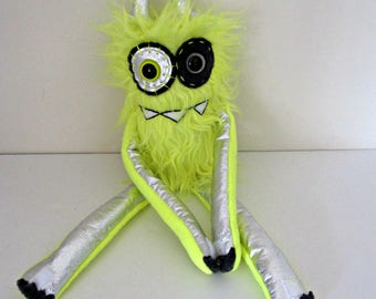 Neon Monster Plush - OOAK Plush Monster Toy - Hand Embroidered Stuffed Monster - Neon Yellow Faux Fur Monster - Cute Weird Plush Toy