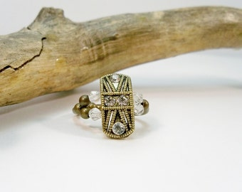 Bronze and Crystal Stretch Ring, Swarovski Crystal Ring, Cocktail Ring, Antique Gold, Elastic Band Ring, Gift for Her, Stocking Stuffer