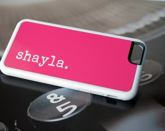 Hot Pink Personalized Phone Case, iPhone 7 Case, Samsung Galaxy Case, iPhone 6 Silicone Case, Custom Phone Case