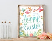 Printable Easter Art Print with optional 3D Butterflies DIY 8x10 inch print at home Happy Easter artwork craft watercolor texture flowers