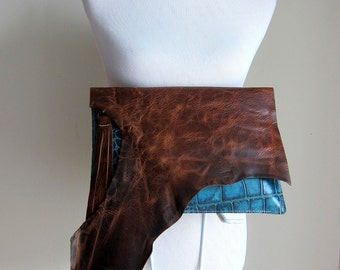 LEATHER Large Oversized Huge Clutch Bag Purse Shoulder Strap Cross Body - Raw, Rustic w/ Raw Edge and Fringe - Textured Decorative Leather