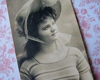 Antique Edwardian beauty photo postcard, Antique bathing beauty photo postcard, Antique French photo postcard, pretty girl photo postcard
