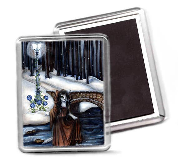 Cat Magnet, Winter Woods Snow, 78Tarot, Five of Pentacles, Cat Refrigerator Magnet