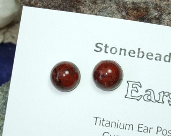 Ear Studs 8mm Poppy Jasper Titanium Posts and Clutches Hypo-Allergenic Made in Newfoundland Relaxation