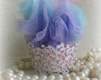 Pink Chiffon  Cupcake Soap with Bath Pouf on SALE.
