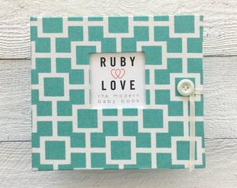 BABY BOOK   Aqua Mid Century Modern Baby Book   Ruby Love Baby Memory Book