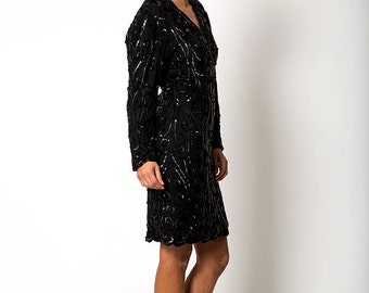The Pretty Woman Black Sequin Cocktail Long Sleeved Dress