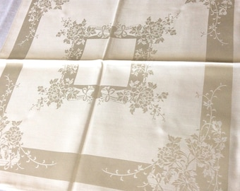 Damask Set Tablecloth and 8 Napkins Cotton Rayon Old Stock