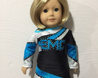 "Made to order East Mississippi Cheerleader Uniform to fit American Girl Doll or any 18"" doll"