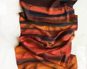 Hand painted silk scarf- Rusty Stripes, Ombre silk scarf, Burnt Orange scarf, Blue Ochre graduated shawl, habotai silk Christmas gift art