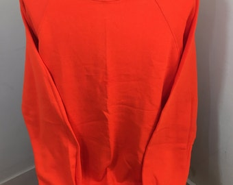 Vintage 80s JERZEES Brand 50/50 Bright Orange Blank Crew Neck Sweatshirt (L) Large Cotton Polyester blend - Made in USA