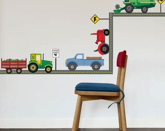 Four Farm Vehicle Wall Decals plus Gray Straight Road, Peel and Stick Removable and Reusable Eco-friendly Wall Stickers
