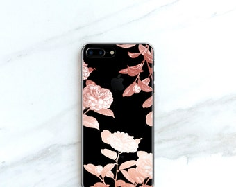 iPhone 7 Plus Case Floral iPhone 7 Case Roses iPhone 6S, Plus, SE, 5S, 5, Flowers Clear Phone Case