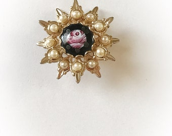 Vintage Rose and Faux Pearl Brooch
