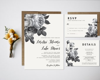 Wedding Invitation Bundle // Floral Invite // Vintage wedding invitation // Vintage Florals // Wedding Invitation Set // Black and White