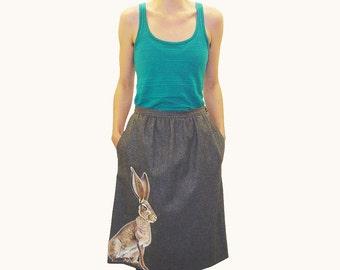 Sale - Wild Hare Skirt - one of a kind, handpainted vintage wool blend pleated grey knee pocket tweed Evan Picone - womens size 12