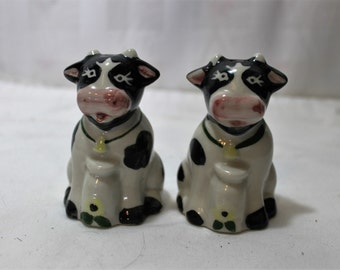 Vintage Kitsch Black and White Holstein Cow Salt and Pepper Shakers