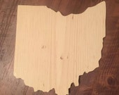 Unfinished - Hand Cut Pine Wood OHIO Plaque, Blank, Cutout, Wood Art - Made to Order