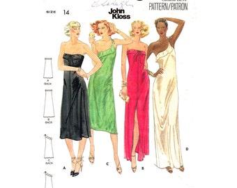 Strapless Dress Pattern One Shoulder Dress Butterick 5704 Slit Maxi Dress Pattern John Kloss Gown Bust 36 Women Sewing Pattern UNCUT