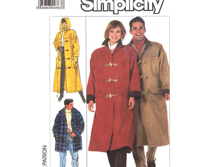 Hooded Duffle Coat Pattern Simplicity 8312 Long Lined Toggle Coat, Hip Jacket Unisex Size Small