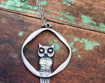 Vintage 1970's  Owl Pendant Necklace Pewter Minimalist Modernist