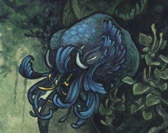 "Original Mini Painting ""Bloom in the Shade"" miniature art watercolor scifi fantasy nature strange creature plant flower monster trippy"